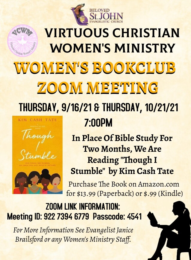 """VCWM Book Club Event On Zoom: Reading """"Though I Stumble"""" by Kim Cash Tate"""
